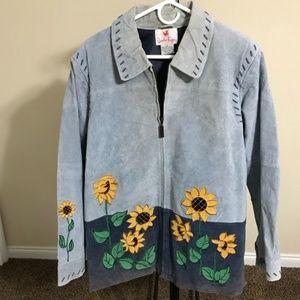 Quacker Factory Suede Jacket, Blue, Size L